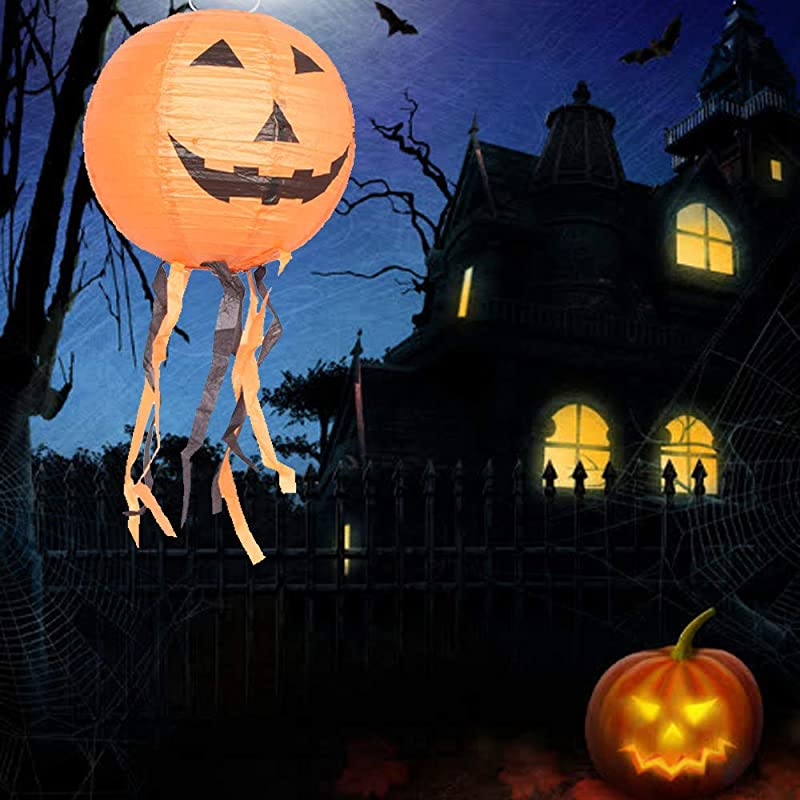Gotian Halloween Paper Lanterns Pumpkin Smile Face Lantern Party Decor Hanging Paper Lanterns And Lights Create Halloween Fixtures Add Color And Brightness To Your Outdoor Indoor Party B