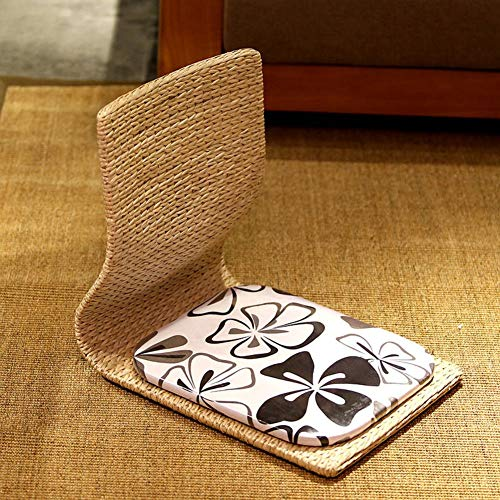 YLCJ Zaisu Natural Materials, japanischer Klappstuhl Meditationsstuhl mit Rückenstütze-C