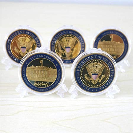 5 Pack Donald Trump Gold Plated Coin, Seal of The President Challenge Coins, Commemorative Gift with Case and Stand