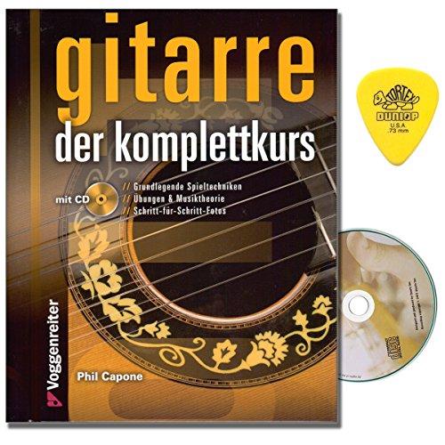 Gitaar van de complete cursus van Phil Capone - gitaarschool met CD en Dunlop Plek - van stemmen van de gitaar en de juiste houding tot accorden, toongeleiders en de basis van de harmonie