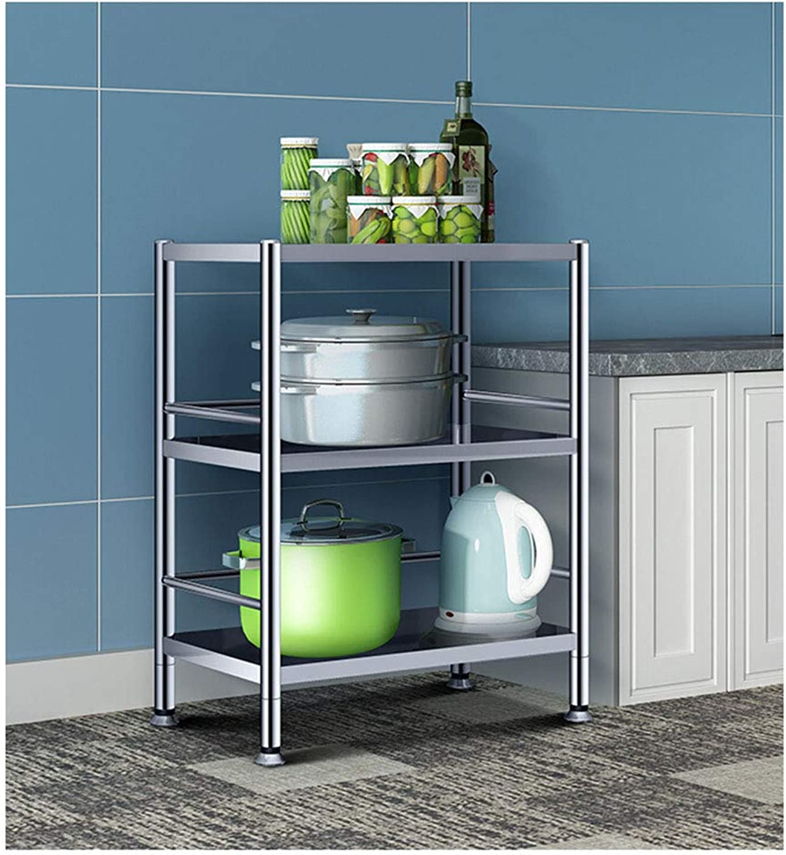 Kitchen Storage Shelf Widened Kitchen Bathroom Bedroom Living Room Rack Stainless Steel Three-Layer Storage Rack Microwave Oven Rack Organisation (Size   Width-60)
