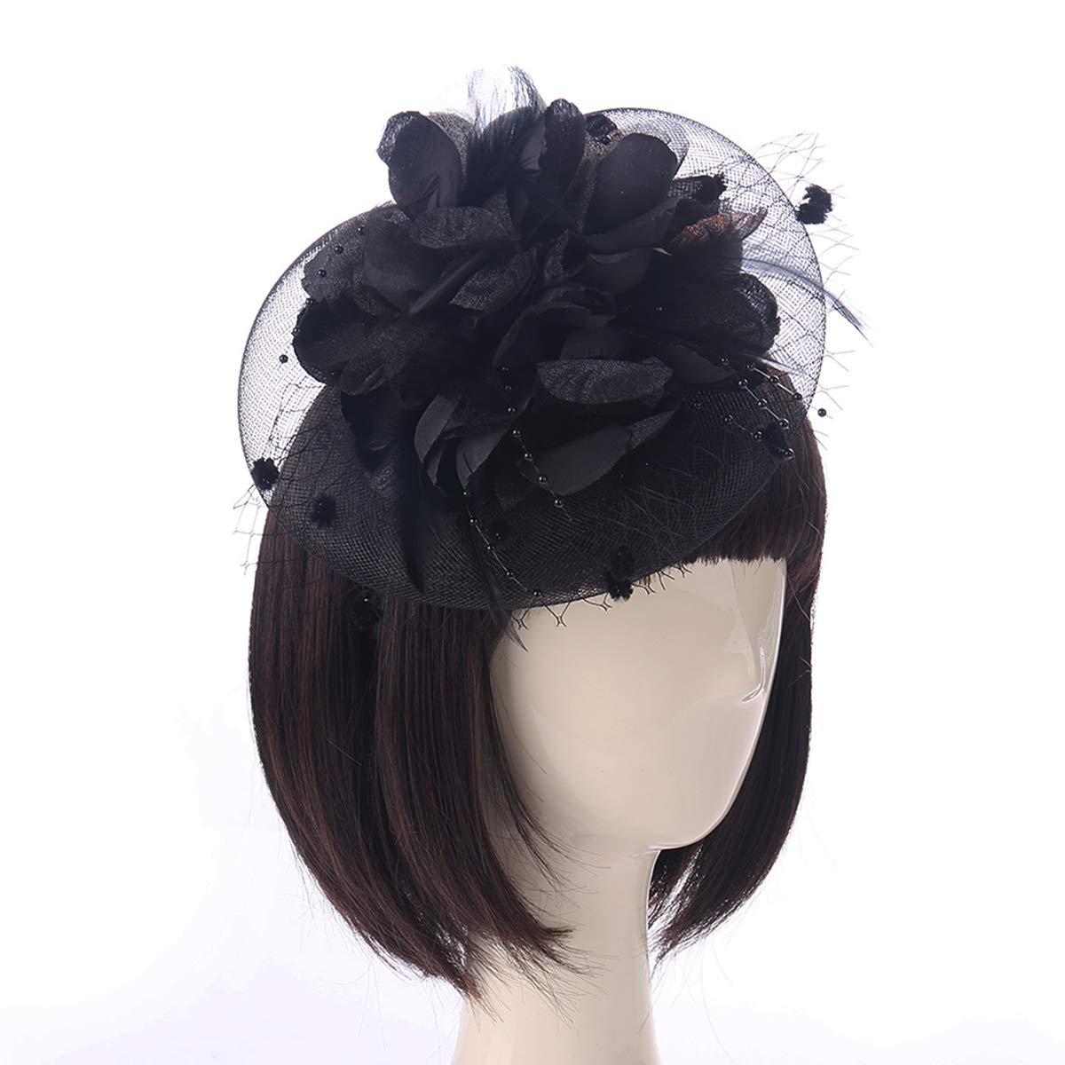 SH-RuiDu Women Girl Fascinator Hat, Fashion Vintage Mesh Flower Feathers Clip Cocktail Party Headwear Hat