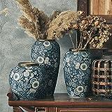 JUNMAIDZ Florero Jarrón de la Boca Dorada Porcelana Seca y Blanca florero Azul y Blanco Flor de Flores Chinos Europea arreglo de Flores (Color : Three vases Set)