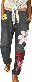 Suvotimo Pantalones Vaqueros Florales Ocasionales de Mujer de Cintura Alta Rectos angustiados Pantalones de Mezclilla de T...