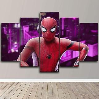Yumeng® - Impression sur Toile 5 Parties Tableau sur Toile Spider Man écoute de la Musique Murale Tableau 5 Pieces Salon M...