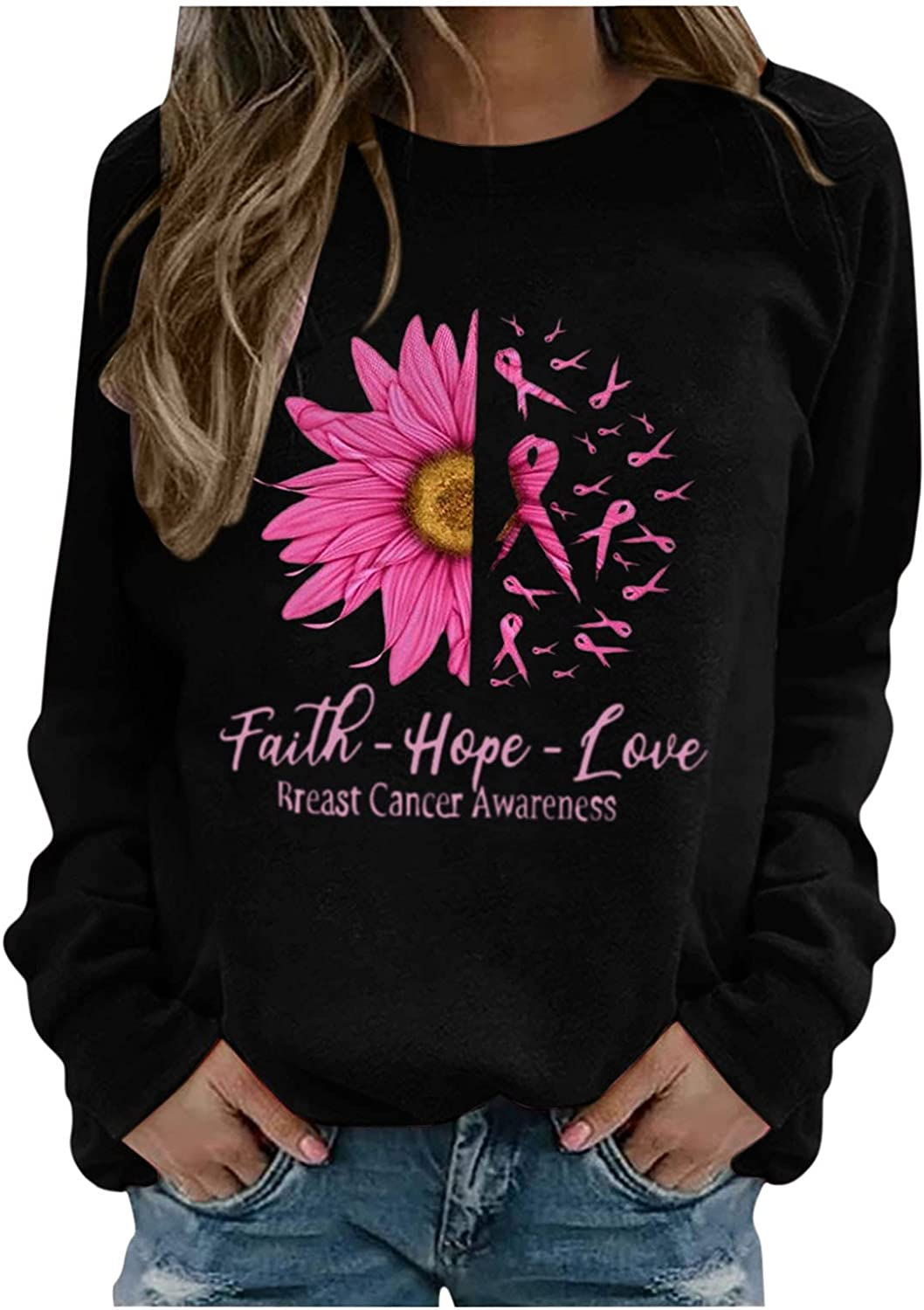 Sweatshirts For Women Breast Cancer Ranking TOP8 Neck Month Deluxe Blouse Print Crew
