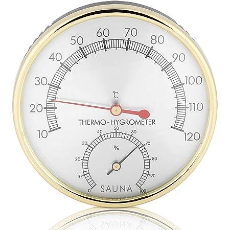 Haofy 2 en 1 Thermomètre Hygromètre de Salle de Sauna, Mètre Celsius Moniteur de Humidité et Température Intérieur avec Cadran en Métal Résistante à Température Haut, pour Ateliers, Piscine, Entrepôts