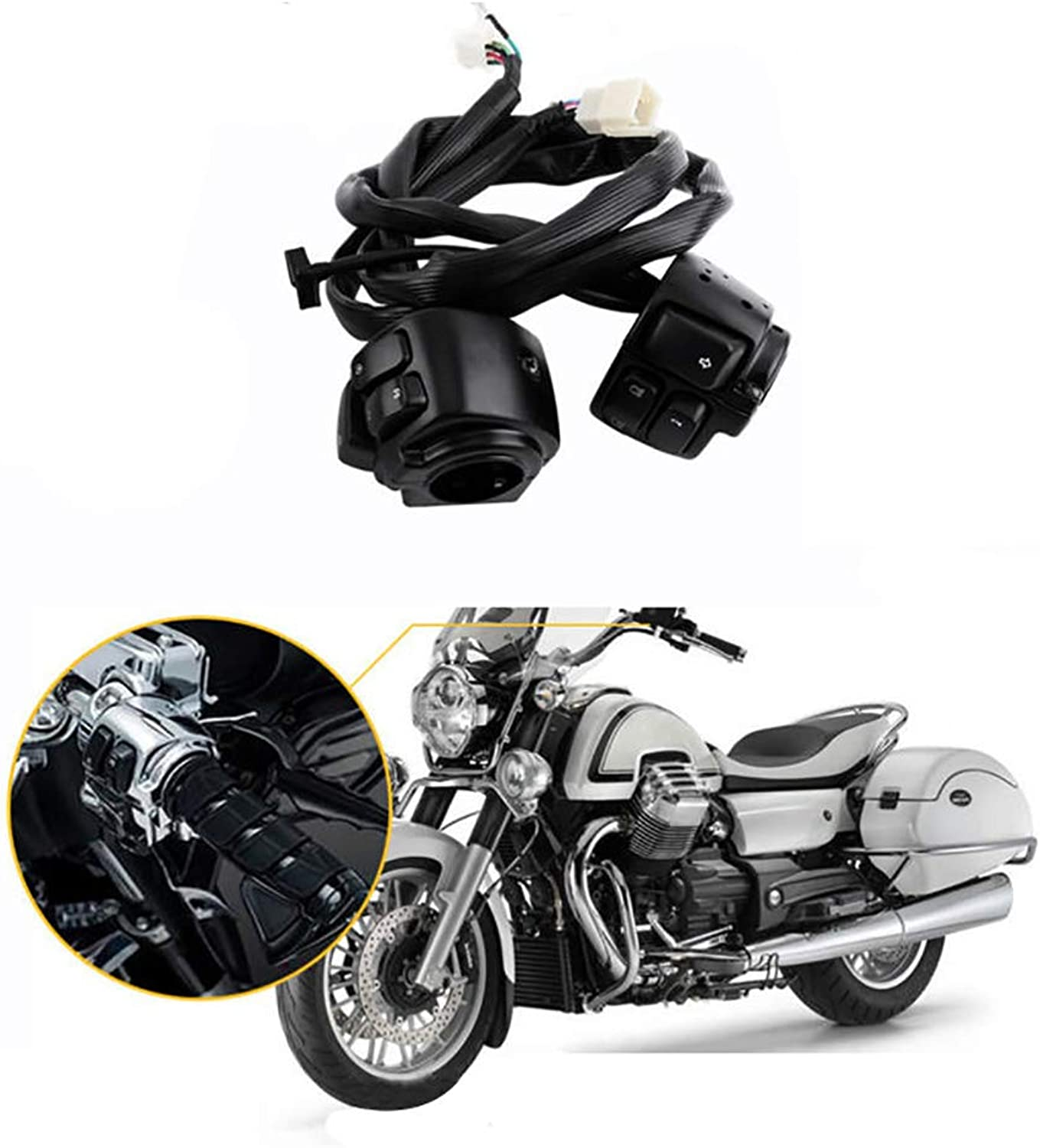 Simple 1  25mm Switch for Motorcycles For Harley redating Switches And Buttons With Wiring Harness Cruise Seat Switch Combination Switch Handlebar Switch Easy to instal ( color   Black )