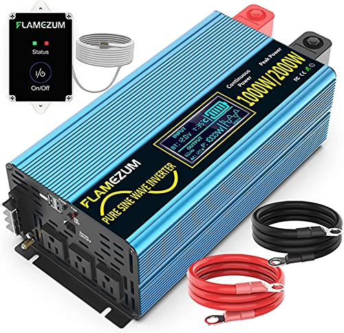 1000/2000(Peak) Watt Pure sine Wave Power Inverter DC 12V DC to 120V AC with 3 AC Outlets, 2.4V USB Port, Remote Switch for RV Trucks Boats and Emergency.