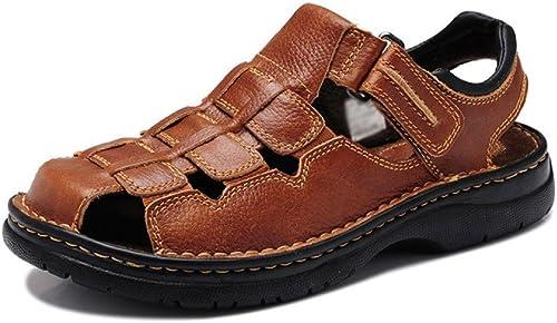 Sandales à Bout Fermé pour Hommes Randonnée en Plein Plein Air Chaussures en Cuir Sandales Walking Trekking chaussures  les derniers modèles