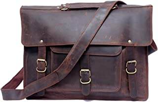 Touch of Leather (Amazon Private Brand 15 Inch Retro Buffalo Hunter Leather Laptop Messenger Bag Office Briefcase College Bag