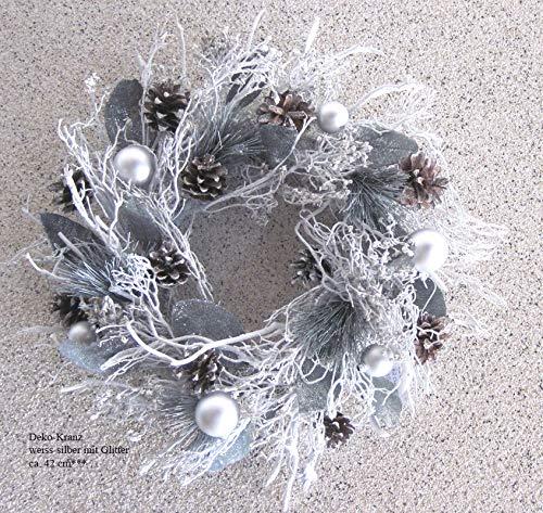 Formano Deko-Kranz Weihnachtskranz weiß/Silber Glitter, ca. 42 cm Durchmesser