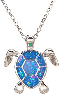 kelistom Sea Turtle Pendant Necklace for Women Men Girls Boys, Silver Plated Link Chain Animal Jewlery