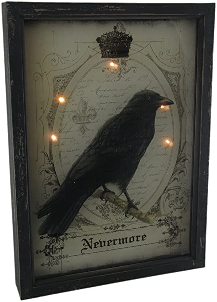 Zeckos Nevermore Raven Gothic 3D Look LED Light Up Wall Hanging