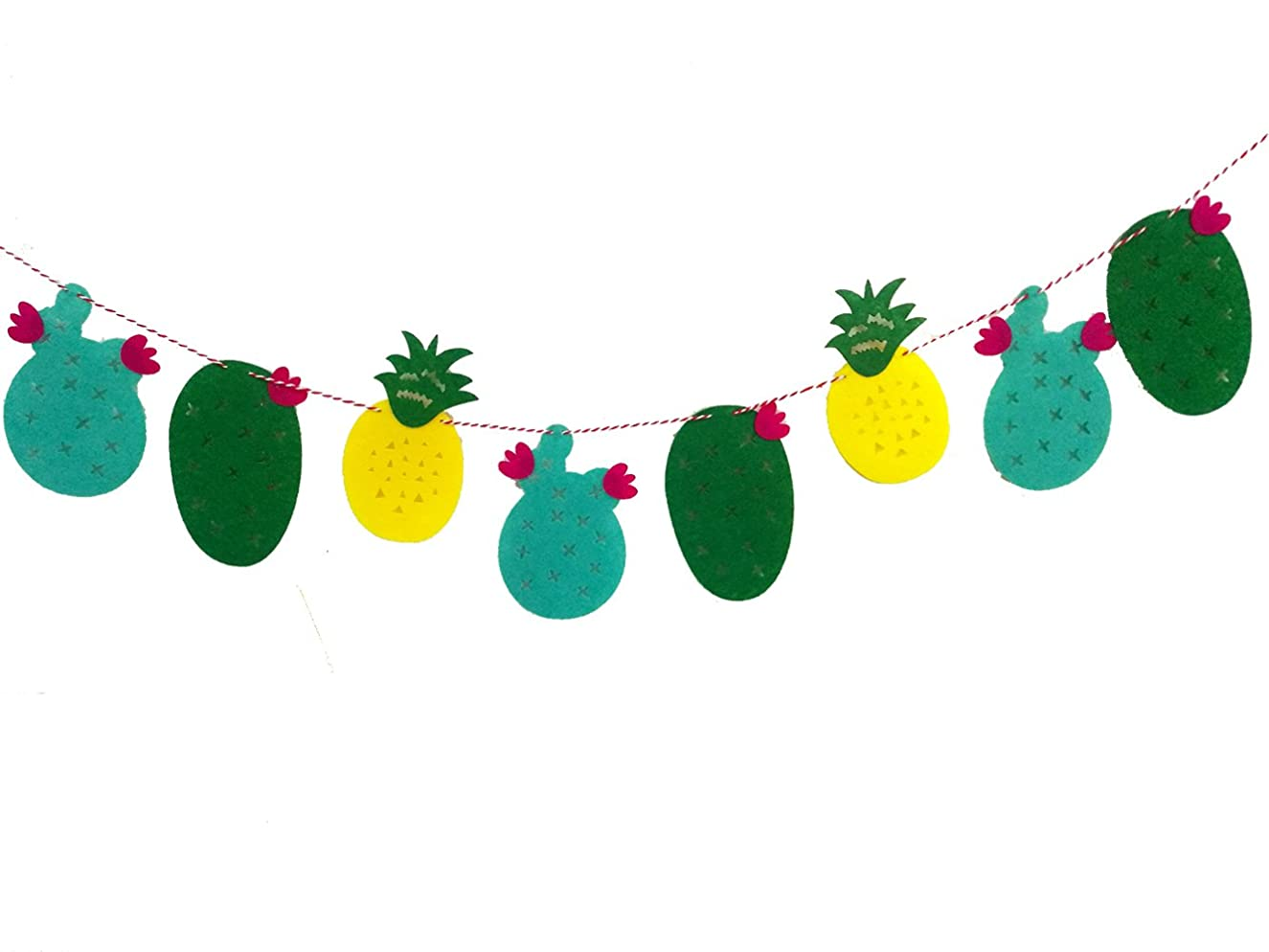 Winterworm Pack of 3 String Hawaiian Luau Flamingo Pineapple Cactus Bunting Tropical Party Decor Banner Tropical Garland (3 Patterns)
