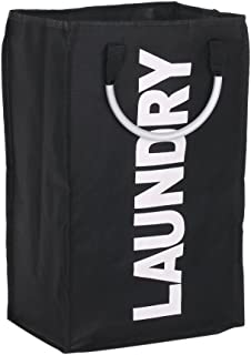 Goolsky Practical Foldable Laundry Bag Washing Dirty Clothes Laundry Basket Durable Storage Bag with Alloy Handle-Black