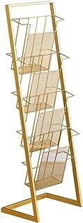 FGDSA Gold Iron LP Storage Rack, Hotel Leisure Bar Cinema Soporte De Piso De Exhibición De DVD - Book House Office Club Pe...