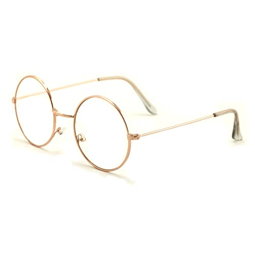 bcd06617a Casual Fashion Medium Round Circle Clear Flat Lens Eyeglasses Thin Frame  Unisex Glasses