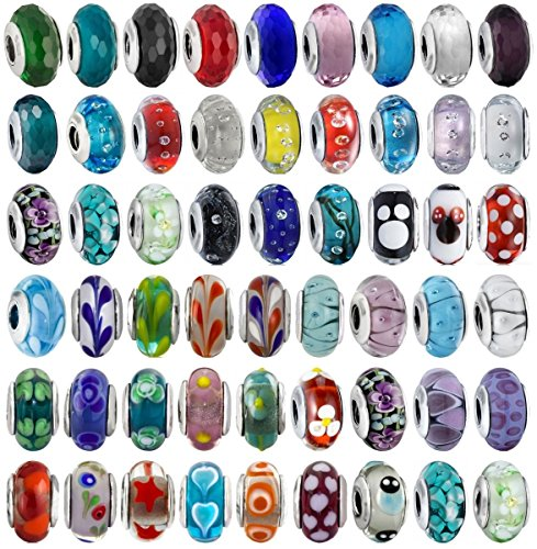 Akki Beads Angebot Set 25stück Murano Glasperlen Glas Türkis Blau Silber Rot Lila Rosa Farbe Bead Element passend kompatibel mit Pandora Kette Armbänder Kult Bead Beads Schmuck 001 Murano Glas