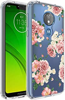 Moto G7 Power Case, Moto G7 Supra Phone Case with Flowers, Ueokeird Slim Shockproof Clear Floral Pattern Soft Flexible TPU Back Phone Protective Cover for Motorola Moto G7 Power (Pink Flower)