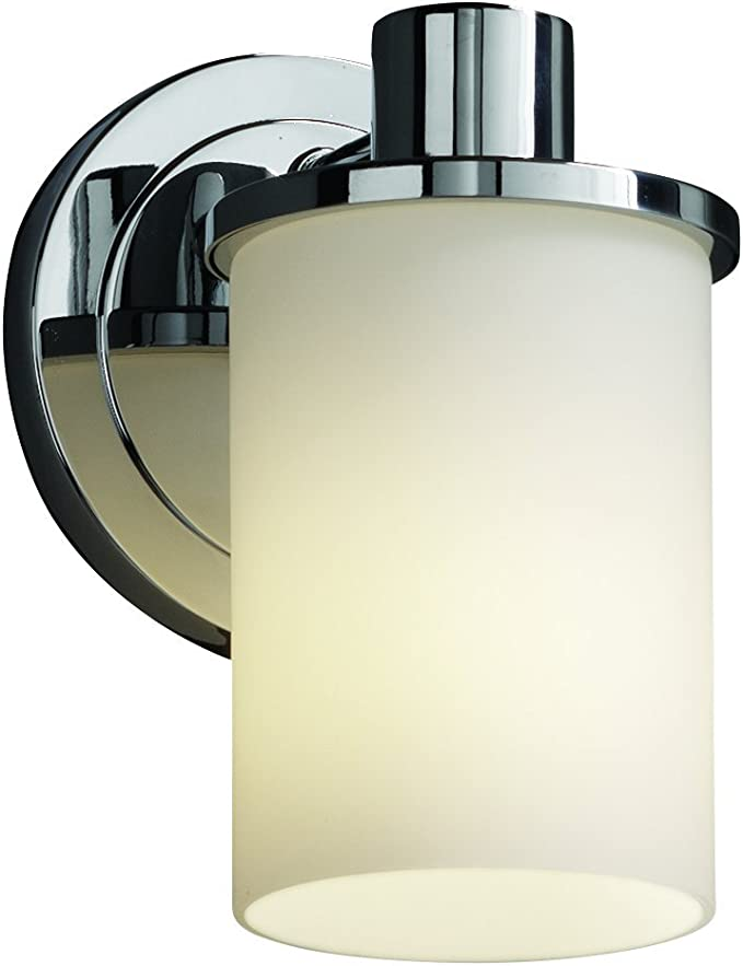 Amazon Com Justice Design Group Fusion 1 Light Wall Sconce Polished Chrome Finish With Opal Artisan Glass Shade Home Improvement
