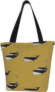 Lesif Einkaufstaschen, geometrische Wale in Schwarz und Weiß auf Senf, Segeltuch, Schultertasche, wiederverwendbar, faltbar, Reisetasche, groß und langlebig, robuste Einkaufstaschen