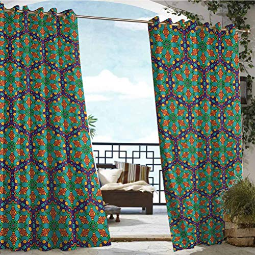 ParadiseDecor 108' W by 96' L(K274cm x G243cm) Turquoise 100% Blackout Window Curtain Panels Gazebo Garden Furniture House Spider Web Inspired Floral Detailed Image on Blue Backdrop
