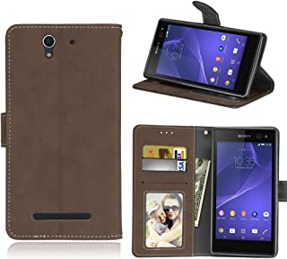 Sony Xperia C3 Case, SATURCASE Retro Frosted PU Leather Flip Magnet Wallet Stand Card Slots Protective Case Cover for Sony Xperia C3 D2533 (Brown)