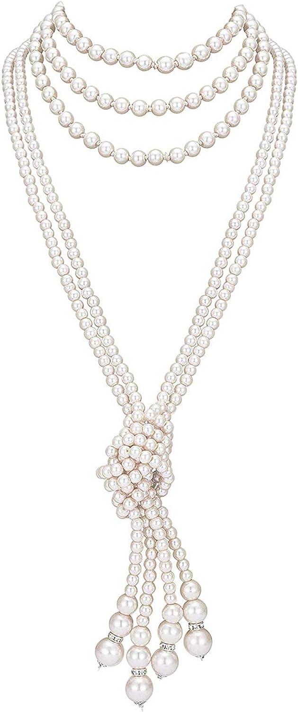 meilun Women's Long Time sale Vintage Faux Great interest Pearl Necklace Layer Neck