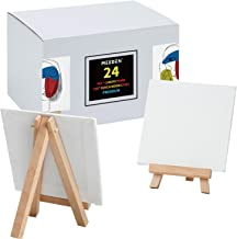 MEEDEN 24Pcs 4 × 4 Inch Mini Canvas Panels Combined with 3 by 5 Inch Beech Wood Easels Set for Paintings Craft Small Acryl...