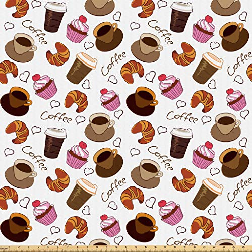 Lunarable Coffee Fabric by The Yard, Coffee Cups Takeaways and Sweets Cherry Cupcake Croissant American Breakfast Culture, Microfiber Fabric for Arts and Crafts Textiles & Decor, 1 Yard, Brown