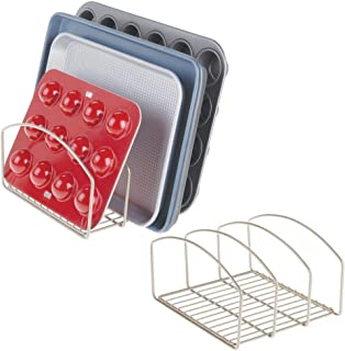 mDesign Metal Wire Cookware Organizer Rack for Kitchen Cabinet, Pantry and Shelves - Organizer Holder with Three Slots for Cookie Trays, Muffin Tins, Bread Pans, Cutting Boards - 2 Pack - Satin