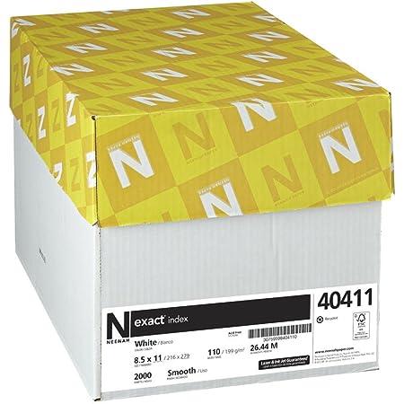 "Neenah Exact Index Cardstock, 8.5"" x 11"", 110 lb/199 gsm, White, 94 Brightness, 2000 Sheets (40411)"