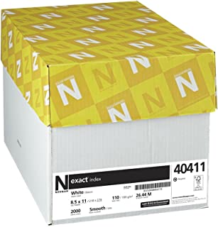 "Neenah Exact Index Cardstock, 8.5"" x 11"", 110 lb/199 gsm, White, 94 Brightness, 2000 Sheets (40411)"