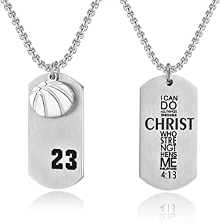 Men's Basketball Player 23 Stainless Steel Cross Pendant I Can Do All Things Bible Verse Necklace