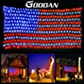 GOODAN Independence Day American Flag String Lights,6.5ft×3.3ft Waterproof Outdoor Lighted USA Flag Net Lights Hanging Ornaments for Independence Day Festival Decoration Party Decorations (Muticolor)
