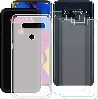 YZKJ [2 stycken skal för LG V40 ThinQ Cover svart halvlätt mjukt silikon skyddande skal TPU skal skal skal 4 x pansarglas ...