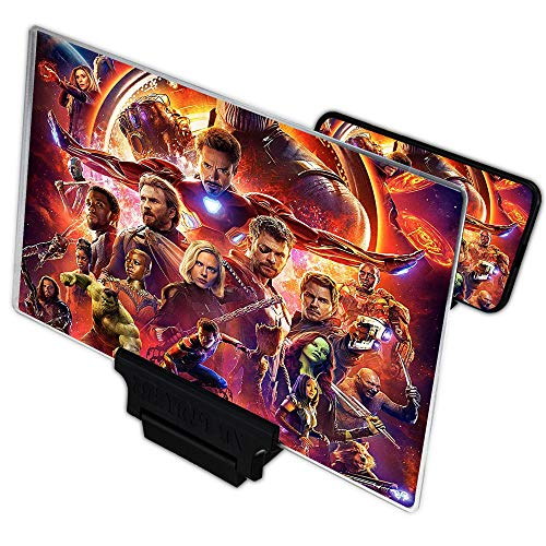 10' | 3D | HD | Screen Amplifier Enlarger | Phone Magnifier | Universal Mobile Projector for Movies Videos and Gaming | Magnifying Cell | Foldable Stand | Supports iPhone/Android
