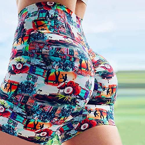 bayrick Mallas de Deporte de Mujer,Verano Nuevo Impresión Pantalones de Yoga Femenina Cintura Alta Fitness Deportes Pantalones Cortos-Color_SG