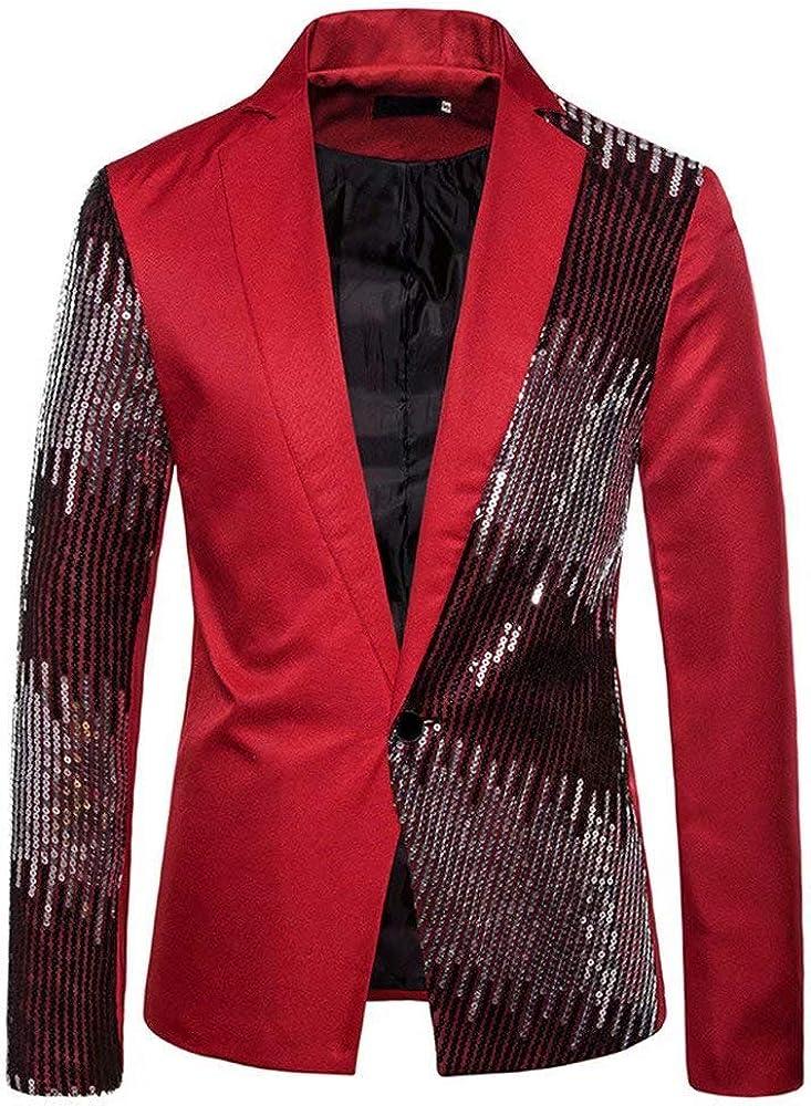 Men's Sequin Party Dance Disco Jackets Nightclub Blazer Jacket Lapel Tuxedo Suits