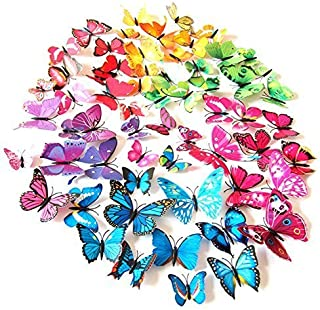 72PCS 3D Butterfly Wall Decor, Stickers for Home, Kitchen, Nursery and Room Decorations, 6 Colors and 4 Sizes, Removable a...