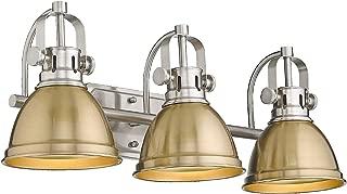 Emliviar 3-Light Bathroom Vanity Light Fixtures, Gold and Brushed Nickel Finish with Metal Shade, 4054 BG