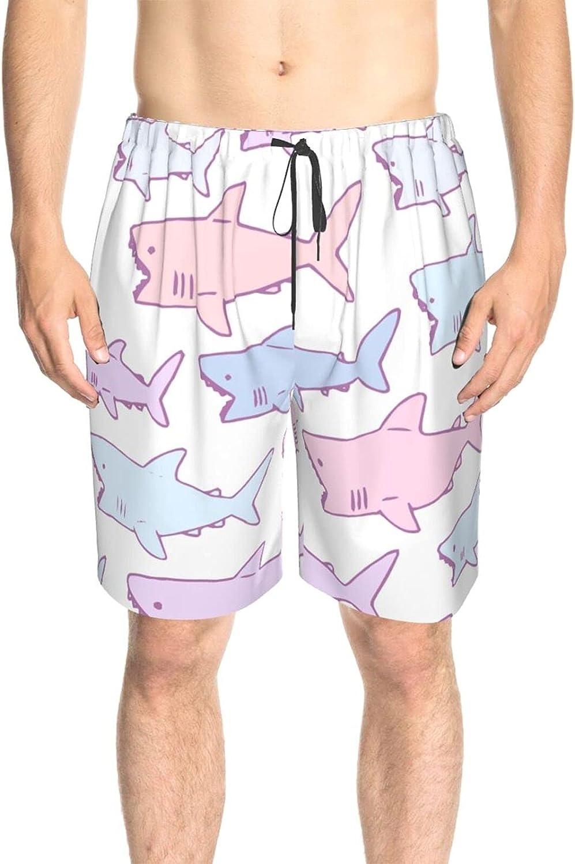 Men's Swim Trunks Pink Blue Sharks Swim Board Shorts Quick Dry Comfy Beach Swim Trunk with Lining
