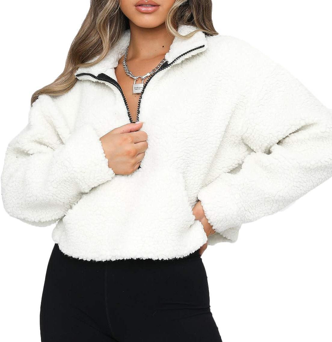 Women's Plush Hoodies Long Sleeve Jacke Super intense SALE Sweatshirt Up Japan's largest assortment Fleece Zip