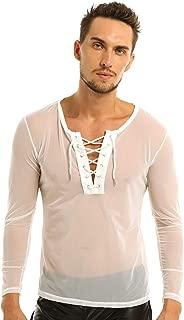 Agoky Men's Mesh Sheer See Through Fishnet T-Shirt Muscle Tees Tops Clubwear