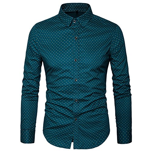 MUSE FATH Men's Printed Dress Shirt-Cotton Casual Long Sleeve Shirt-Button Down Point Collar Shirt-Green-M