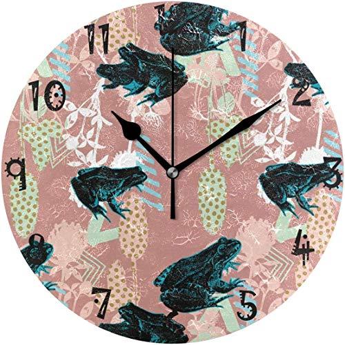 Azalea Store - Reloj de pared circular con diseño de rana y silencioso, sin tachuelas, para cocina, dormitorio, hogar, relojes