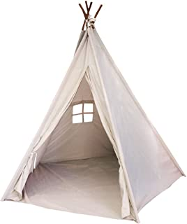 Funkatron Indoor Indian Playhouse Toy Teepee Tent for Kids, Toddlers Canvas with Carry Case, Off White