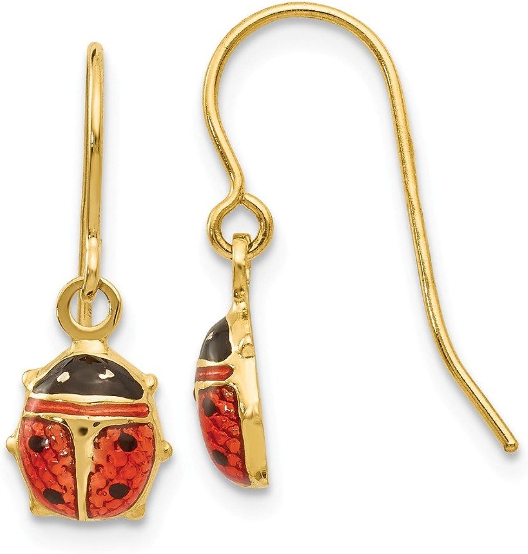 Beautiful Yellow gold 14K Yellowgold 14k Enameled Ladybug Dangle Earrings