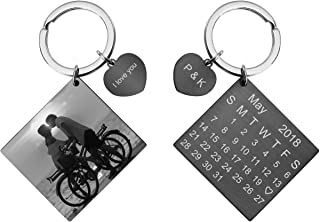 JOVIVI Personalized Custom Photo/Text/Special Date Calendar Keychain Engraved Stainless Steel Heart Dog Tag Keyring Memorial Keepsake Anniversary Wedding Gift